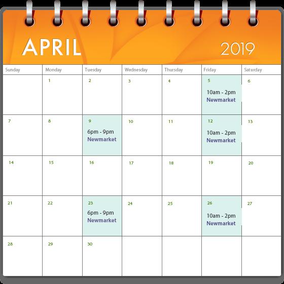 medi spa april calendar