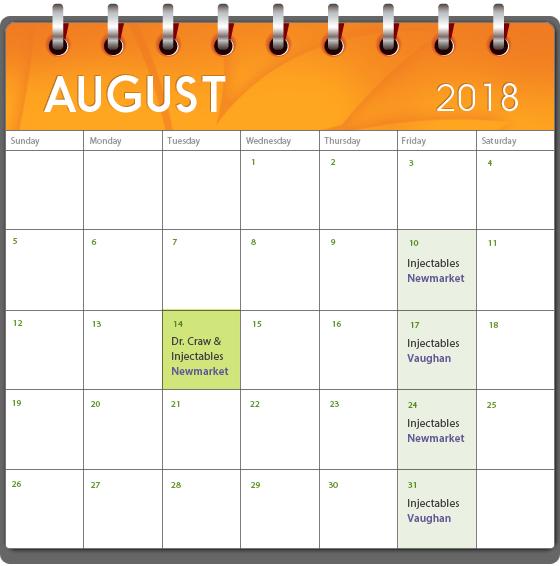 medi spa calendar august