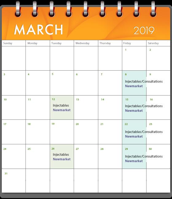 medi spa march calendar