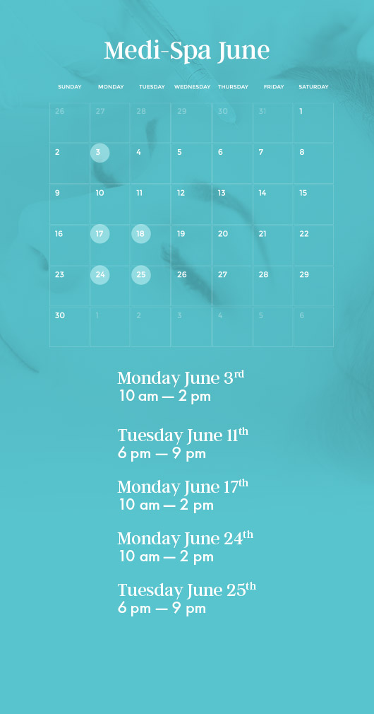 medi-spa calendar june - sanctuary day spas