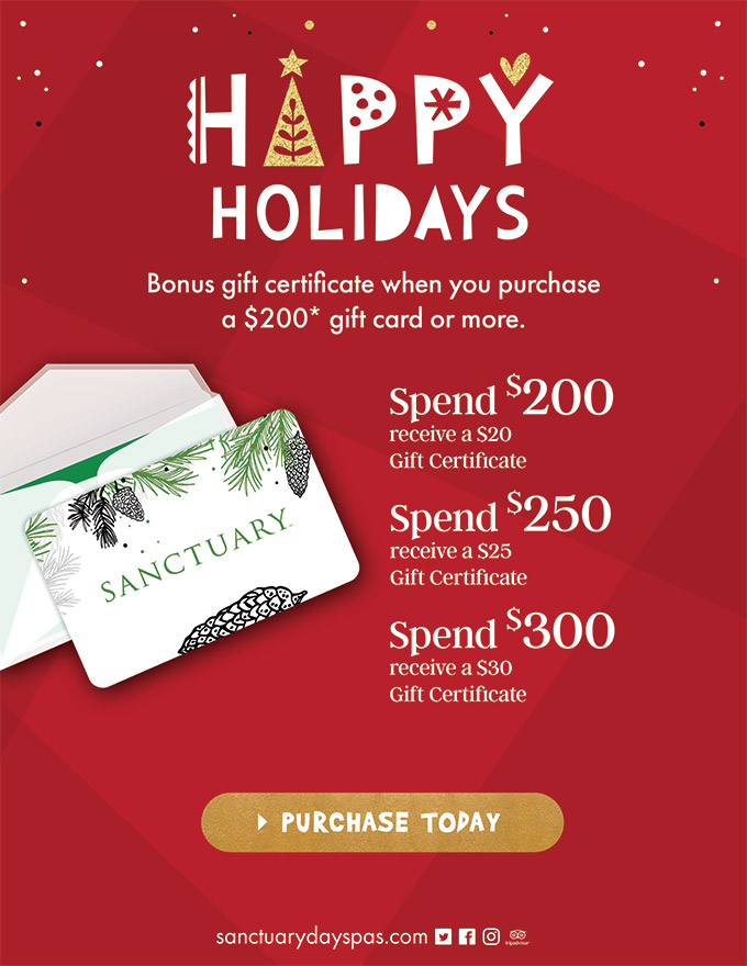 spa gift cards - special holiday offers