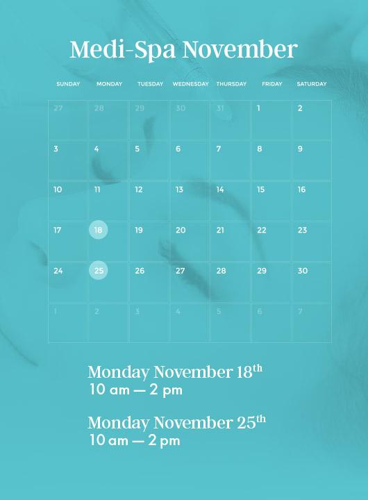 medi-spa calendar november