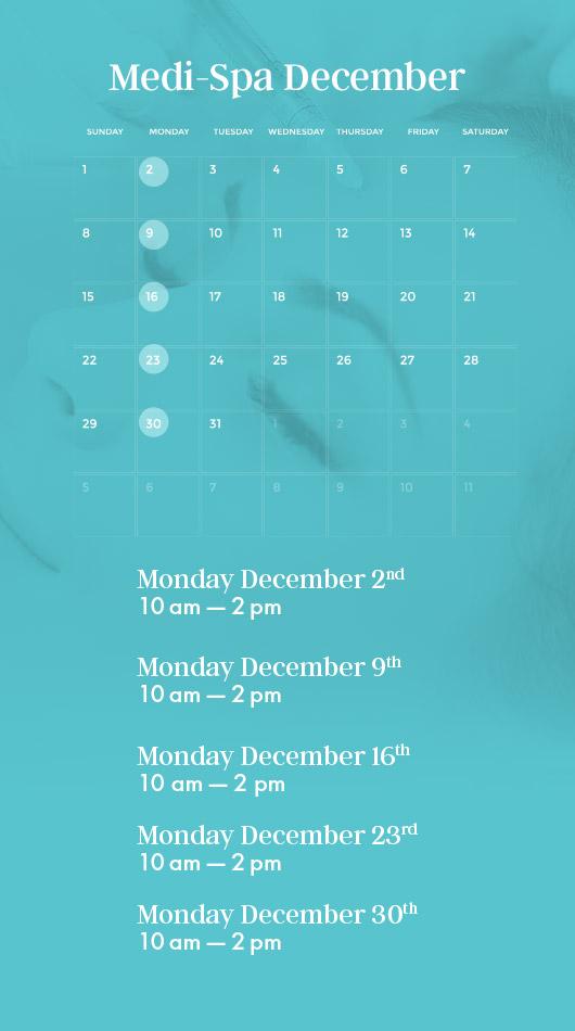 medi-spa calendar december